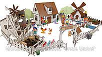 """Кукольный Домик для кукол ЛОЛ LOL """"Сельский+ферма+мельница"""" с мебелью, текстилем и светом 30х19х26 см (2204)"""