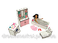 """Кукольная мебель ЭКО для кукол в кукольный домик - игровой набор """"Ванная комната"""" из 4 предметов (3112)"""