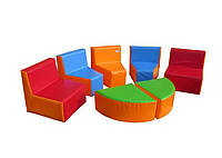 Мягкий модульный игровой детский комплект из 7 элементов со стульями и столиками для дома Уголок 90х90х50 см
