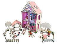 """Кукольный Домик для кукол ЛОЛ + дворик с мебелью, текстилем и обоями """"LITTLE FUN maxi"""" 40х20х62 см (2112)"""
