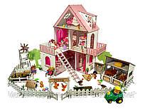 """Кукольный Домик ЭКО для кукол ЛОЛ LOL """"Солнечная Дача, дворик, ферма"""" с мебелью и текстилем 40х40х62 см (2126)"""