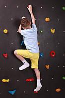 Детская развивающая влагостойкая стенка-скалодром на каркасе для уличной площадки «Скала» 125х200 см