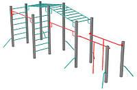 Оборудование для спортивных уличных площадок спортивный комплекс для детей от 12 лет Олимпиец 628х270х252 см