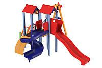 Спортивно-игровой комплекс для детской площадки с качелями и двумя пластиковыми горками Авалон 533х423х345 см