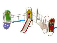 Спортивно-игровой уличный комплекс для детской площадки с одной металлической горкой Лондон 440х320х220 см