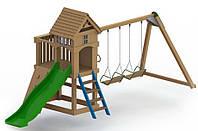 Спортивно-игровой уличный комплекс для детской площадки с качелями и пластиковой горкой Атлантис 670х260х290см