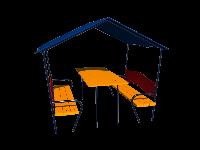 Игровой элемент для детской площадки домик со столиком и крышей открытый для школы и сада Океан 191х150х158 см