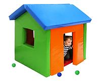 Объемный мягкий модульный игровой домик с окнами из матов разборный для дома и детских комнат 136х100х123 см