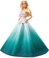 Коллекционная Кукла Барби Блондинка в пышном бальном голубом платье Новогодняя 2016 года - Barbie Holiday Doll