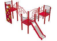 Спортивно-игровой уличный комплекс для детской площадки с одной металлической горкой Осьминог 670х390х260 см