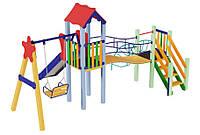 Спортивно-ігровий вуличний комплекс для дитячого майданчика з однією металевою гіркою Верблюденя 500х334х295см