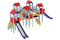 Спортивно-игровой уличный комплекс для детской площадки с двумя металлическими горками Жабка 852х727х345см