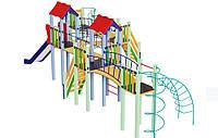 Спортивно-ігровий вуличний комплекс для дитячого майданчика з однією металевою гіркою Змійка 1075х480х345 см