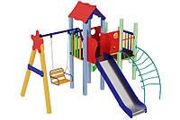 Спортивно-ігровий вуличний комплекс для дитячого майданчика з однією металевою гіркою Ластівка 392х379х345 см