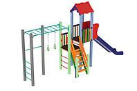 Спортивно-ігровий вуличний комплекс для дитячого майданчика з однією металевою гіркою Котик 647х155х395 см