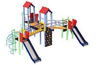 Спортивно-ігровий вуличний комплекс для дитячого майданчика з трьома металевими гірками Кораблик 840х490х345 см