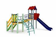 Спортивно-ігровий вуличний комплекс для дитячого майданчика з однією металевою гіркою Місяць 348х316х295 см