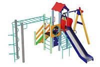 Спортивно-ігровий вуличний комплекс для дитячого майданчика з однією металевою гіркою Промінь 583х392х345 см
