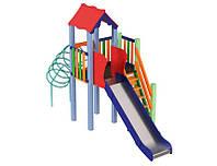 Спортивно-ігровий вуличний комплекс для дитячого майданчика з однією металевою гіркою Медуза 427х158х295 см