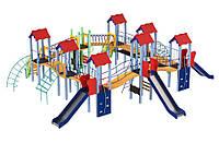 Спортивно-ігровий вуличний комплекс для дитячого майданчика з 3 металевими гірками Моє місто 1006х990х380 см