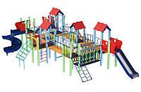 Спортивно-ігровий вуличний комплекс для дитячого майданчика з двома гірками прямий і спіраль Острів 1138х678х345см
