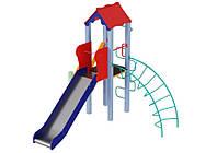 Спортивно-ігровий вуличний комплекс для дитячого майданчика з металевої прямий гіркою Півник 315х280х295 см