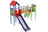 Спортивно-ігровий вуличний комплекс для дитячого майданчика з однією металевою горою Сонечко 348х329х295 см
