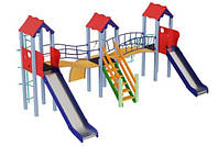 Спортивно-ігровий вуличний комплекс для дитячого майданчика з двома металевими гірками Стіна 610х477х345 см