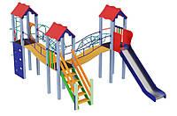 Спортивно-ігровий вуличний комплекс для дитячого майданчика з 1 металевої гіркою Три мушкетери 654х350х345 см