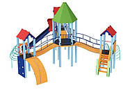 Спортивно-игровой уличный комплекс для детской площадки с металлической горкой Шестигранник 800х710х410 см