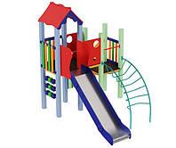 Спортивно-ігровий вуличний комплекс для дитячого майданчика з однією металевою гіркою Качечка 379х228х345 см, фото 1