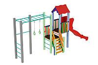 Спортивно-игровой уличный комплекс для детской площадки с одной пластиковой прямой горкой Котик 647х155х395 см