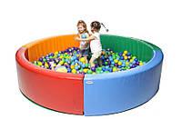 Мягкий детский развивающий модульный сухой бассейн Круг разборный для дома и улицы без шариков 250х250х40см, фото 1