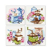 Набор для росписи по номерам. Полиптих Цветочное кофе 4шт в наборе KNP018