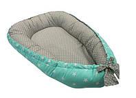 Подушка Кокон-гнездышко для новорожденных для игры и сна до 6 месяцев с бортами 82x65x14 см (Звезды-горошек)