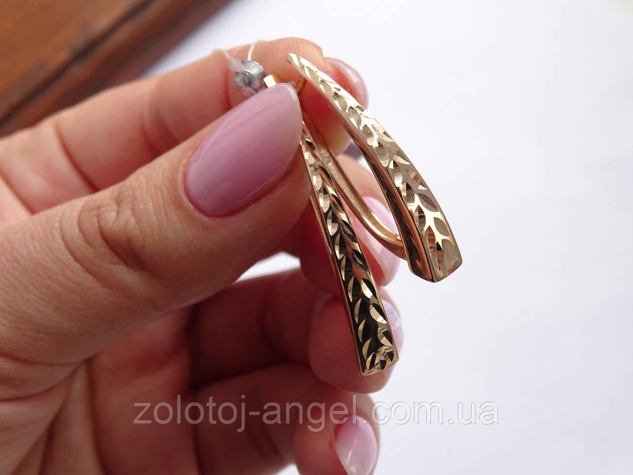 Серьги золотые с алмазной гранью