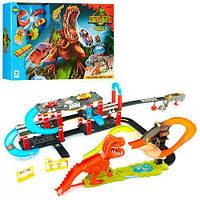 Игровой Автотрек для мальчиков Тиранозавр Рекс с винтовым спуском, 2 металлические машинками, звуковые эффекты