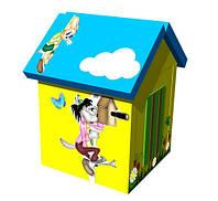 Мягкий детский игровой объемный домик с аппликациями разборный из матов для квартиры Ну, погоди 140х100х100 см