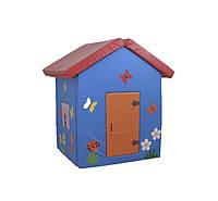 Мягкий детский игровой объемный домик с аппликациями разборный из матов для квартиры Бабочки 140х100х100 см