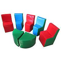 Модульный мягкий комплект игровой мебели для детей из 7 элементов со стульями и столами Полукруг 180х120х60 см