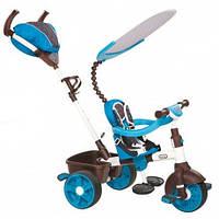 Детский Трехколесный Велосипед 4в1 с подвижным козырьком, родительской ручкой, корзиной, голубой, Little Tikes