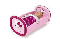 Детская Игровая Колыбель-кроватка для девочек розовая с рисунком для куклы до 42 см Hello Kitty Smoby Смоби
