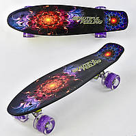 Скейт (пенни борд) Penny board со светящимися колесами АБСТРАКЦИЯ арт. 8740/99160
