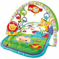 Детский Развивающий Музыкальный Игровой Коврик Друзья из тропического леса 5 игрушек, муз. модуль Fisher-Price