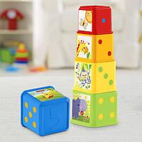Детские Развивающие Игровые Веселые кубики-формочки Складываем и исследуем 6 штук разноцветные Fisher Price