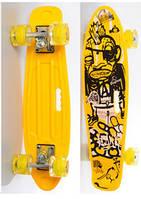 Скейт (пенни борд) Penny board со светящимися колесами ЖЕЛТЫЙ арт. 0749-6