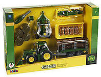 Игрушка Детская Для Мальчиков Машинка Набор Трактор строительный 33 элемента зеленый 47 см John Deere Klein