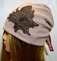 """Трикотажная шапка """"Цветок"""", фото 1"""