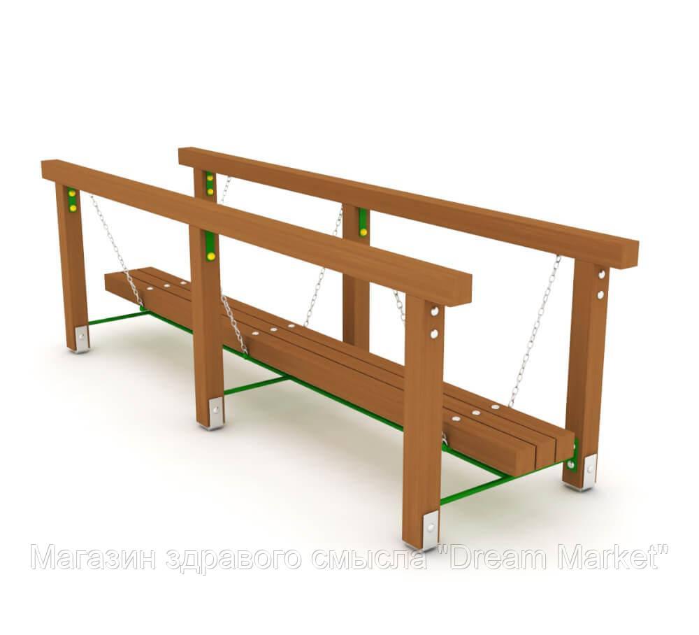 Детский спортивный игровой комплекс для игр на открытом воздухе мостик на цепях Маятник 210х90х100 см дерево