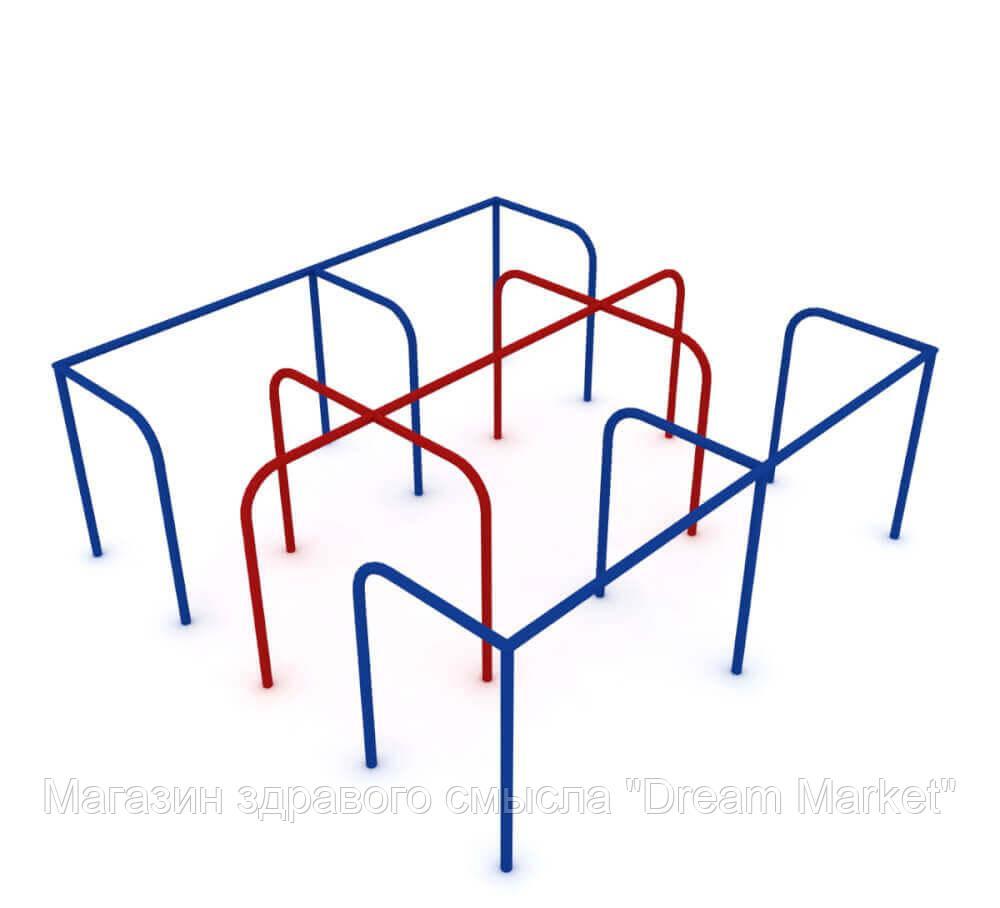 Детский спортивный игровой металлический комплекс для игр на  открытом воздухе лабиринт Пазл 220х220х60 см